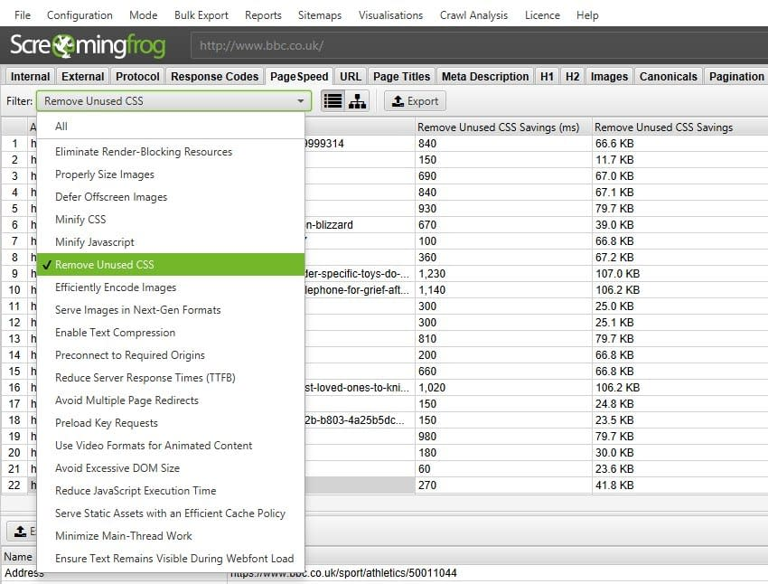 screaming frog pagespeed