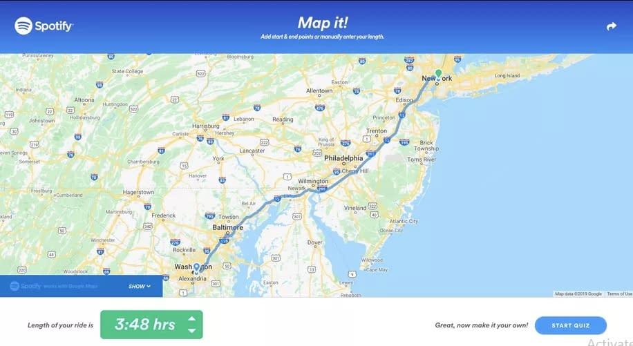 Spotify Roadtrip map