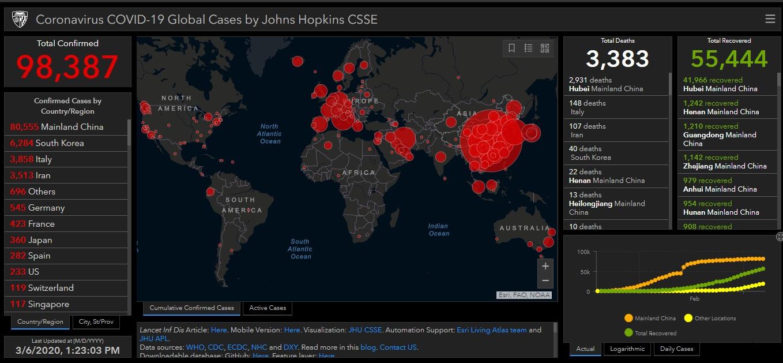 John Hopkins CSSE Map